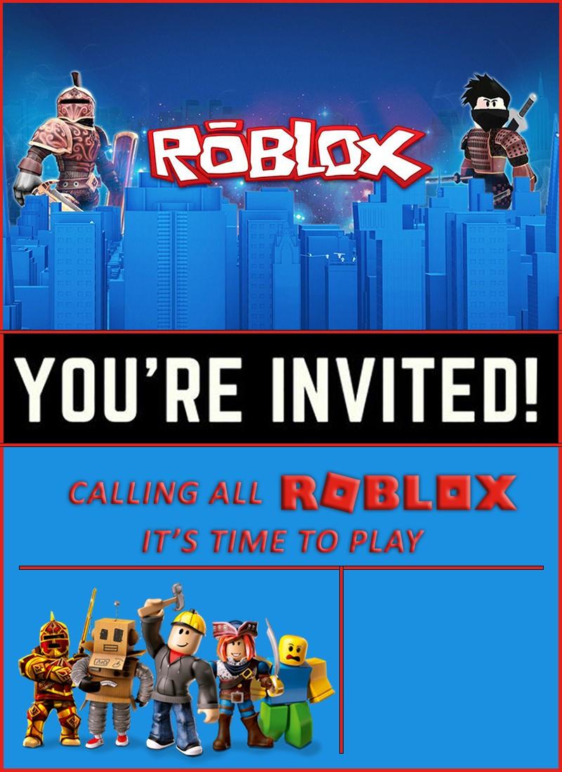 Free Online Roblox Birthday Invitation - Roblox Birthday Party Invitations