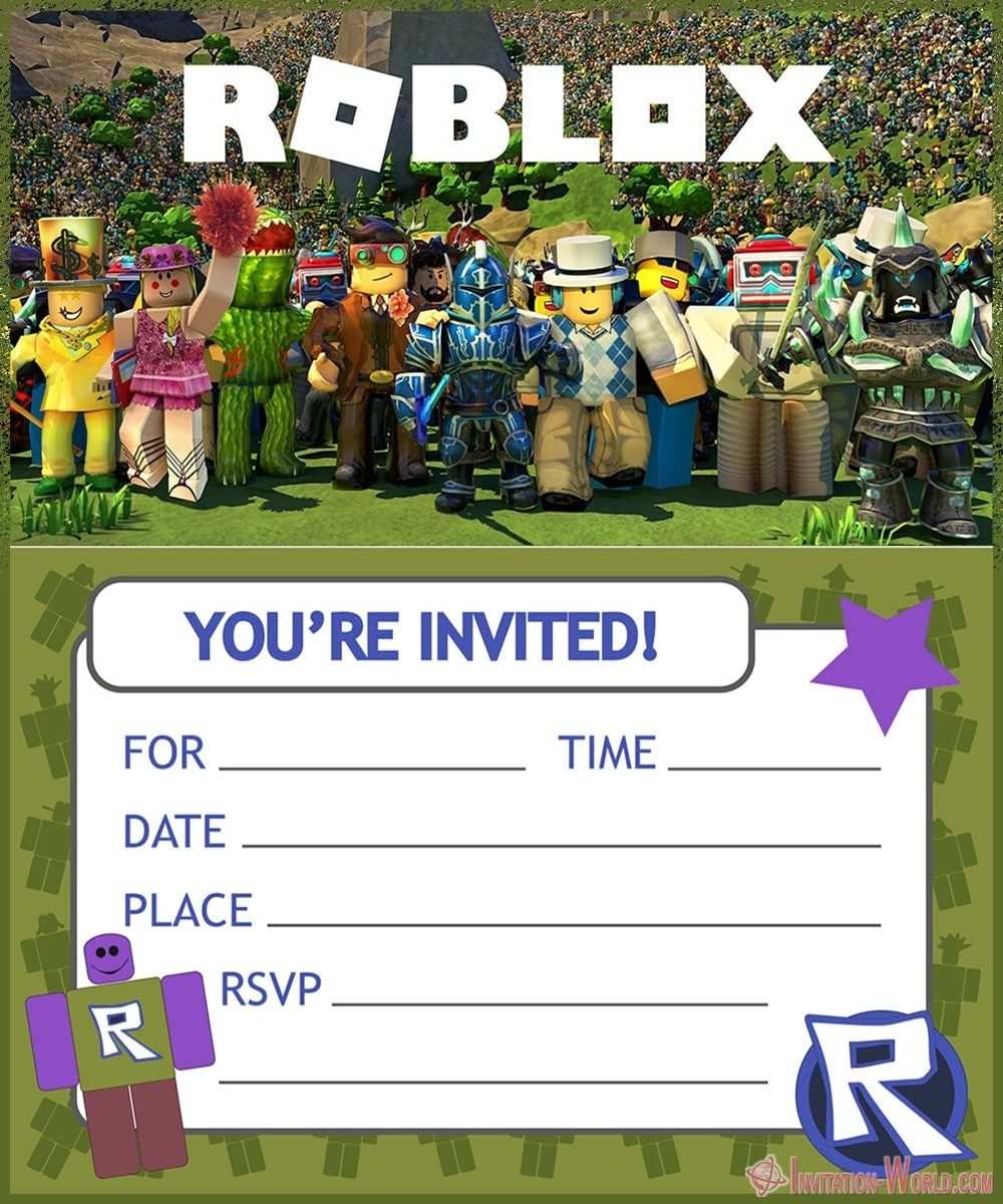 Free Printable Roblox Birthday Invitation Template 1000x1200 - Roblox Birthday Party Invitations