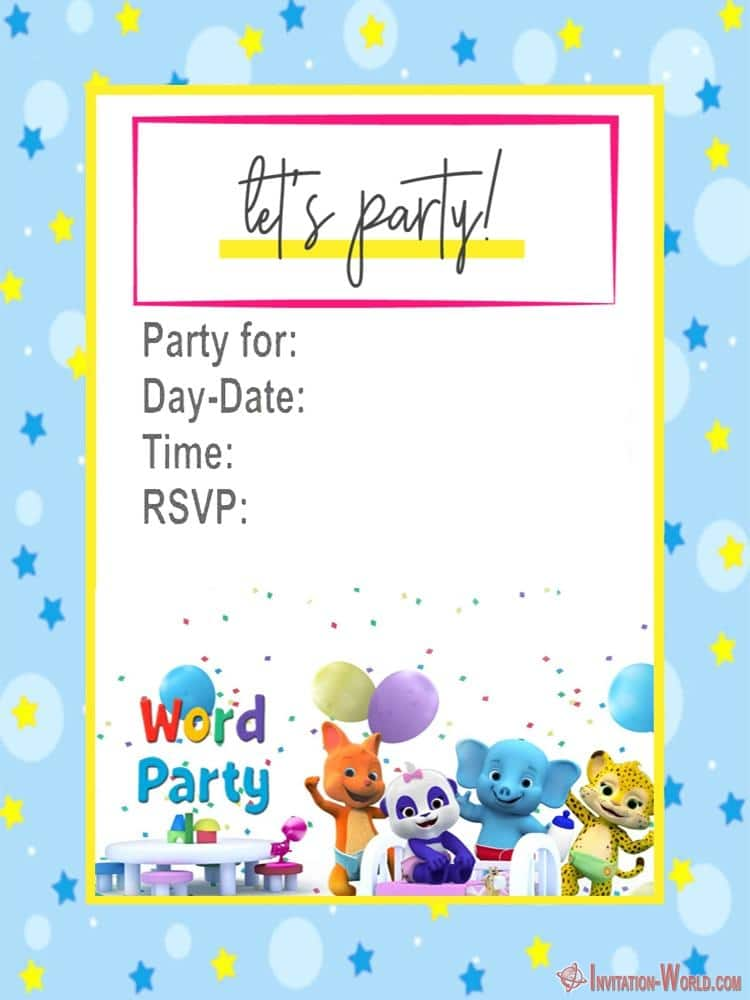 Free Printable Word Party Invitation - Word Party Invitation Cards