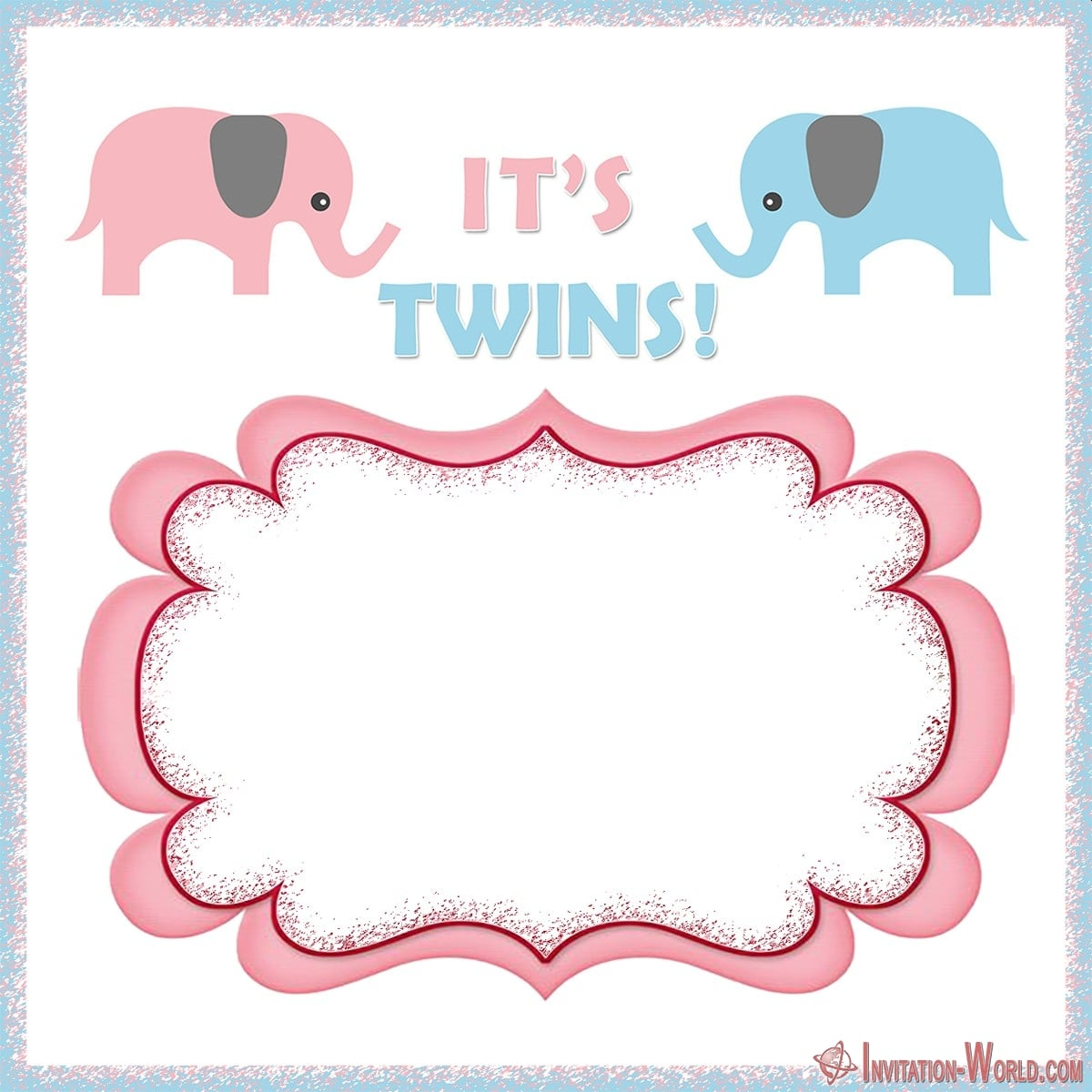 Its twins Baby shower invitation - Couples Shower Invitation Cards