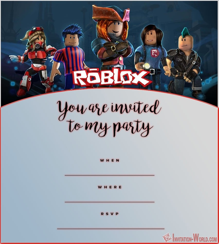 Roblox Birthday Party Invitation Template - Roblox Birthday Party Invitations