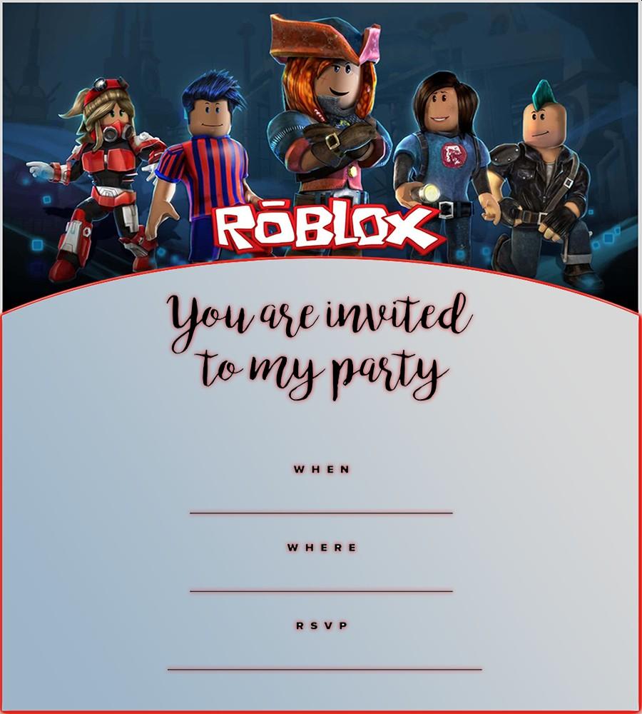 Roblox Birthday Party Invitation Template - Roblox Birthday Party Invitations