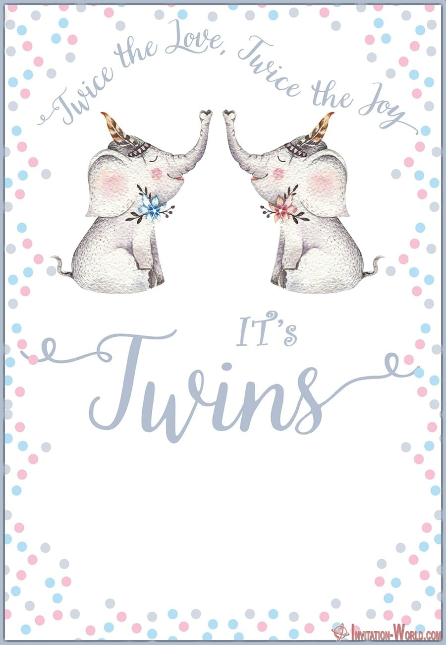 Twins Baby Shower Invitation Card - Twins Baby Shower Invitation Card