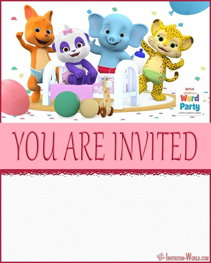 Word Party Invitation - Word Party Invitation Cards