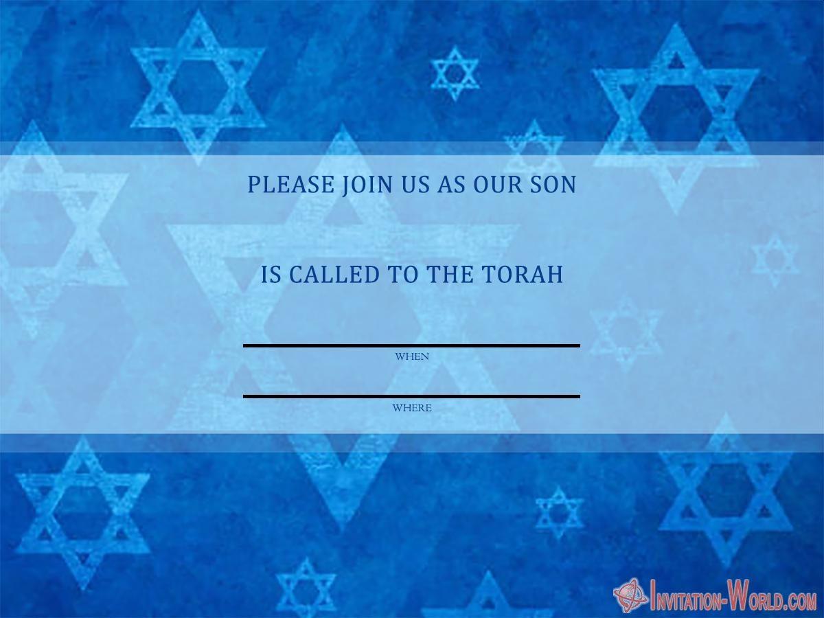 Printable Bar Mitzvah invitation card 1200x900 - Bar Mitzvah Invitation Templates - Easy to customize