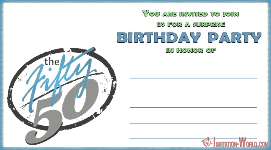 50th Birthday Invitation Card - 50th Birthday Invitation Templates - FREE and PRINTABLE