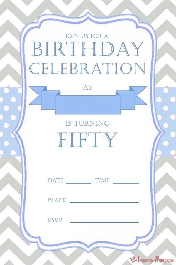 50th birthday invitation for him - 50th Birthday Invitation Templates - FREE and PRINTABLE