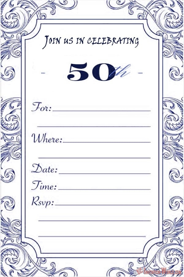 Free 50th birthday invitation for him - 50th Birthday Invitation Templates - FREE and PRINTABLE