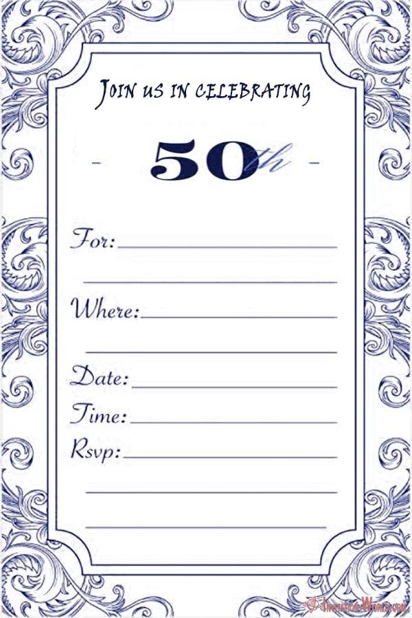 Free 50th birthday invitation for him - 50th Birthday Invitation Templates - FREE and PRINTABLE