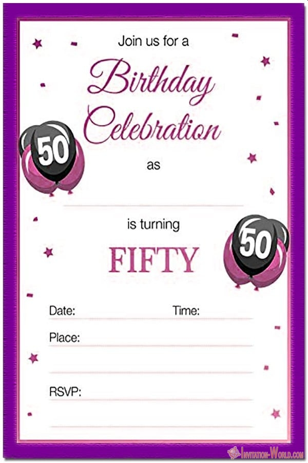 Free printable 50th birthday invitation - 50th Birthday Invitation Templates - FREE and PRINTABLE